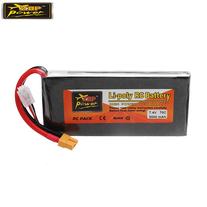 ZOP POWER 7.4V 5500mAh 70C 2S Rechargeable Lipo Battery With XT60 Plug For RC FPV Racing Multicopter DIY Spare Parts Accessories