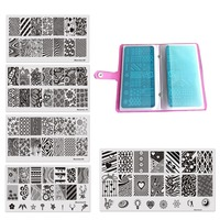 11Pcs Set 20Slots Nail Art Stamp Plate Stamping Plates Cases 10Pcs Steel Nails Image Plates Flower