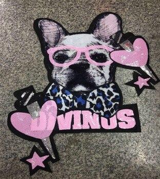 5f28fdac9 1 piezas corazón perro lentejuelas parches para ropa coser apliques de  lentejuelas aplicaciones motivo parches de bordado etiqueta engomada  accesorios de ...