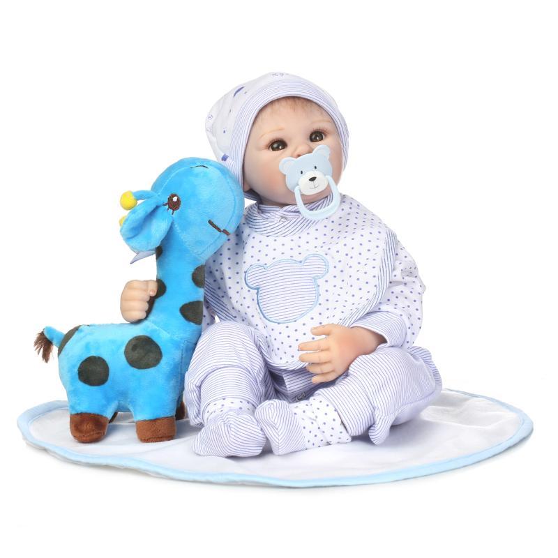 55 cm Silicone souple Reborn poupée réaliste Simulation à la main bambin poupée avec grands yeux vinyle Bebe Reborn bébés jouets.