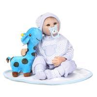 55cm Soft Silicone Reborn Doll Lifelike Simulation Handmade Toddler Doll With Big Eyes Vinyl Bebe Reborn Babies Toys.