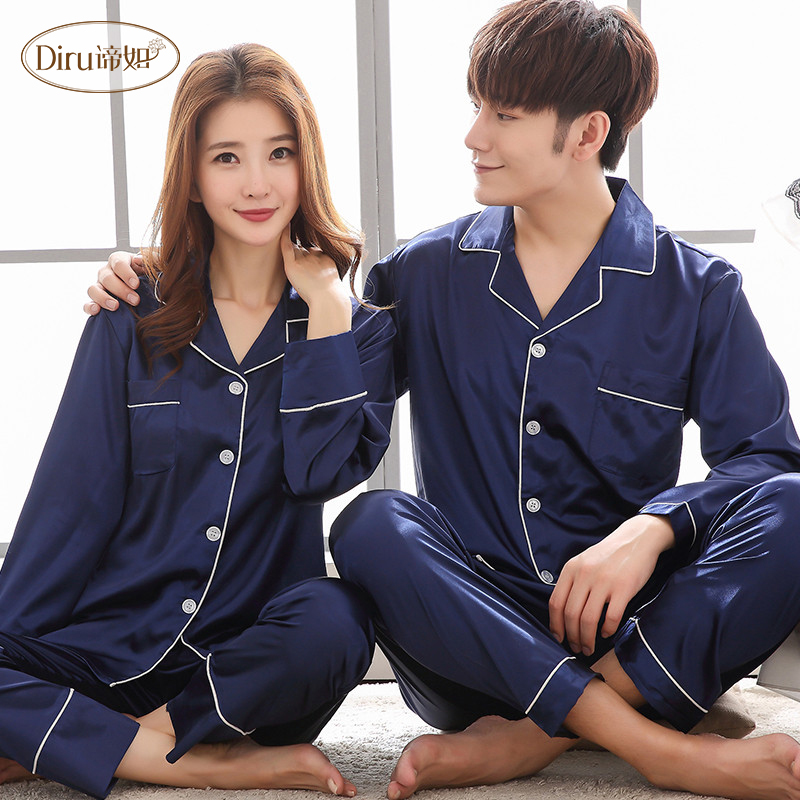 7663633f05 2018 Lovers Long Sleeve Satin Men Pajamas Set Solid Two-Piece Autumn Silk  Men Sleepwear