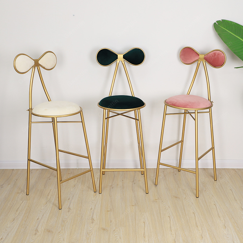 Nordic Butterfly Metal Dining Chairs Gold Bar Makeup Vanity Chair Stool Modern Bedroom Sofa Dressing Party Stools Home Art Decor