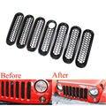 7 unids Negro ABS Car-styling detector Frontal Rejilla Mesh Parrillas Con Orificio de Bloqueo cubre el ajuste Para Jeep Wrangler JK 2007-2015 accesorios