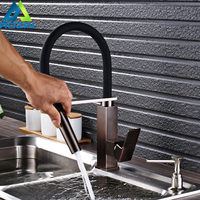 ORB Bathroom Kitchen Faucet Single Lever Deck Mounted Flexible Black Pipe With Bracket Kitchen Mixer Crane