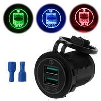 Dual USB Quick Charge 3.0 LED Fast Charger for 12V/24V Car Boat Motorcycle SUV Bus Truck Marine Car QC 3.0 Dual USB Charger