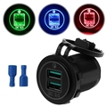 Dual USB Quick Charge 3 0 LED Schnelle Ladegerät für 12 V/24 V Auto Boot Motorrad SUV Bus Lkw marine Auto QC 3 0 Dual USB Ladegerät|Handy-Ladegeräte|   -