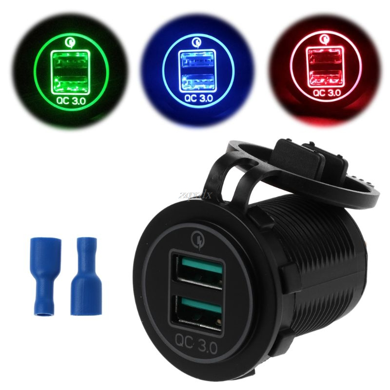 Dual USB <font><b>Quick</b></font> <font><b>Charge</b></font> <font><b>3.0</b></font> LED Fast <font><b>Charger</b></font> for 12V/24V <font><b>Car</b></font> Boat Motorcycle SUV Bus Truck Marine <font><b>Car</b></font> QC <font><b>3.0</b></font> Dual USB <font><b>Charger</b></font> image