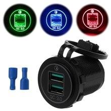 المزدوج USB تهمة سريعة 3.0 LED شاحن سريع ل 12 فولت/24 فولت سيارة قارب دراجة نارية SUV حافلة شاحنة البحرية سيارة QC 3.0 شاحن USB مزدوج
