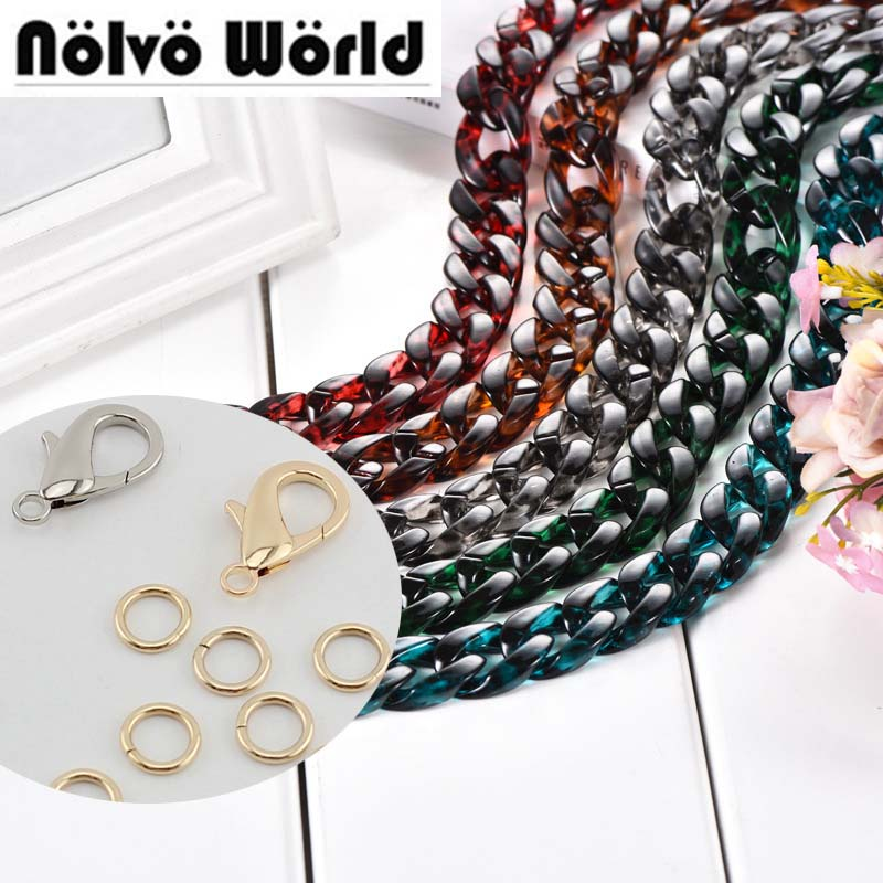 5 Colors/10 Pieces 60-120cm 30X22mm Never Fade Acrylic Plastic Bag Chain Silver/gold Hook Women Resin Straps Hot Selling