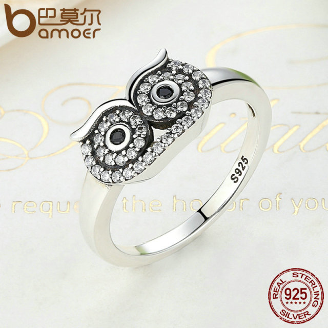 Sterling Silver Clear CZ Cute Owl Stackable Finger Ring