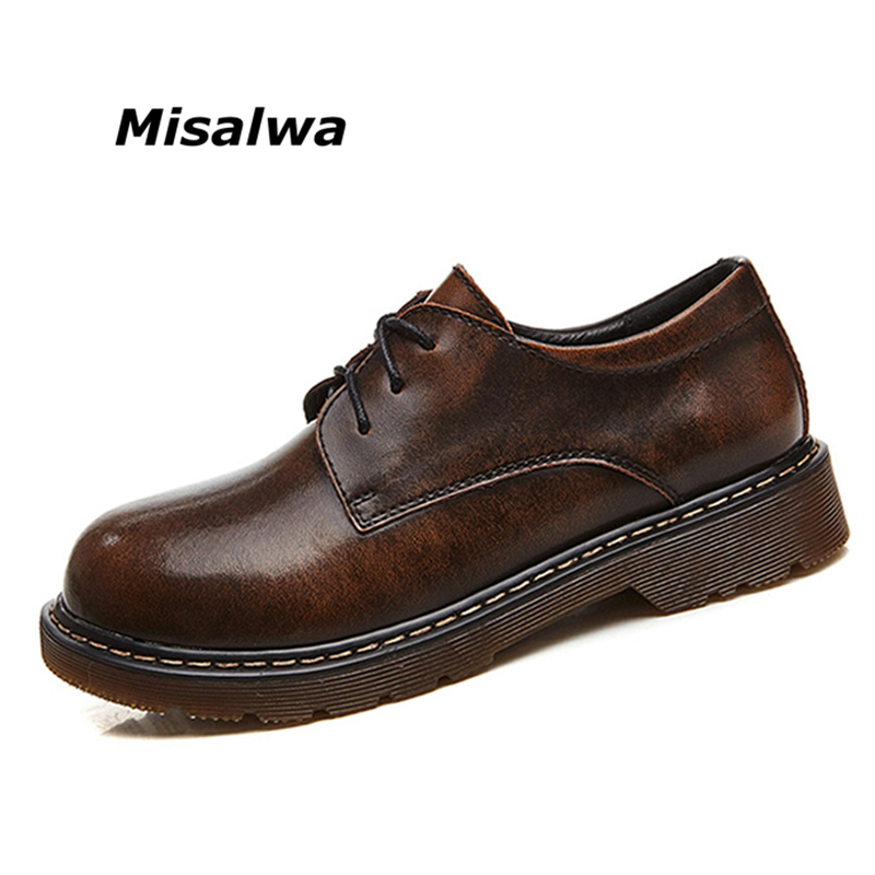 Misalwa 2018 Autumn Winter Women Oxford Shoes Flats British Style Casual Leather Shoes For Girls Lace Up Loafers Shoes beffery 2018 british style patent leather flat shoes fashion thick bottom platform shoes for women lace up casual shoes a18a309