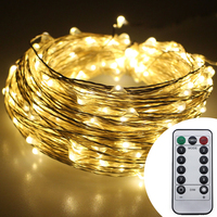 30M 300Leds 6AA Battery Operate Christmas Fairy Lights Warm White Silver Wire LED Starry Light String Lights With Remote