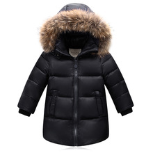 Winter new big boys girls down jacket winter big fur collar long coat
