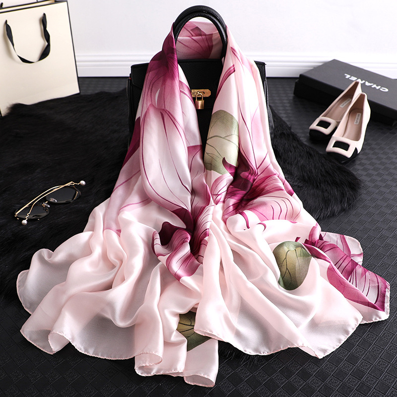 2020 New Spring Summer Silk Scarf Women Fashion Floral Printed Shawls And Wraps Long Thin Foulard Large Pashmina Winter Scarves