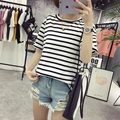 2017 Striped T Shirt Women Round Neck Short Sleeve Striped Tops Slim Casual Cotton Tshirt Female Plus Size 5 Colors good quality