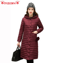 Winter women down jacket 2017 fashion solid color mid-long outerwear Long sleeves hooded overcoat warm women down jacket Ly0269