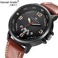 Часы Hannah Martins мужские  модные  спортивные  кварцевые  с кожаным циферблатом и календарем