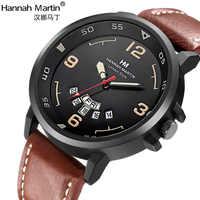 Hannah Martin marque de luxe montres hommes mode militaire sport horloge calendrier créatif cadran en cuir Quartz montre-bracelet relogio