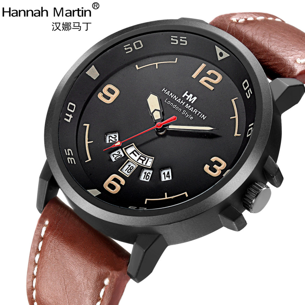 Hannah Martin Luxury Brand Watches Men Military Fashion Sports Clock Calendar Creative Dial Leather Quartz Wrist Watch Relogio