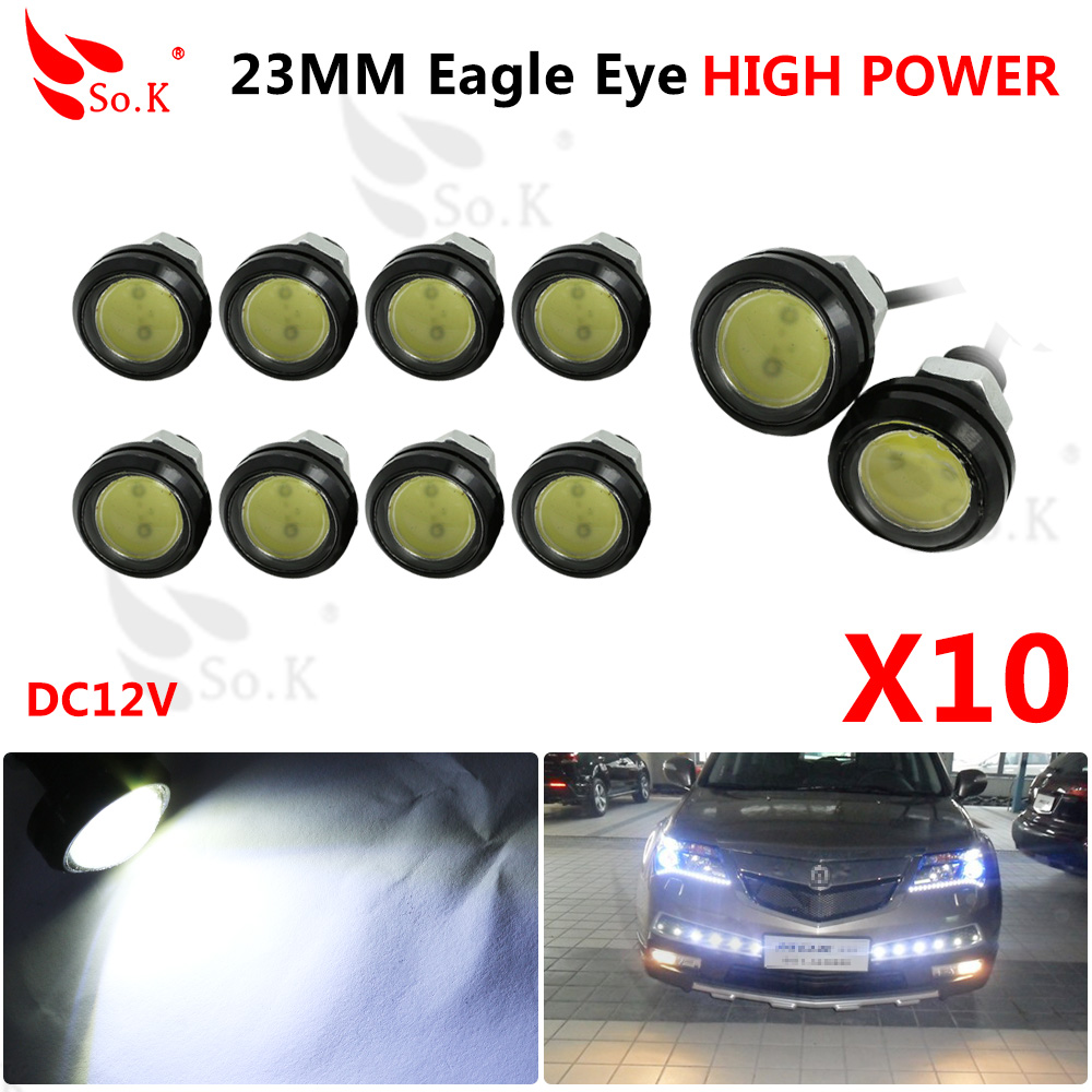 10pcs 23mm LED White Eagle Eye Car Light High Power Car Daytime Running Light parking light Auto white bulb car led light 12v led light auto headlamp h1 h3 h7 9005 9004 9007 h4 h15 car led headlight bulb 30w high single dual beam white light
