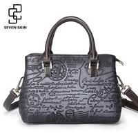 SEVEN SKIN Brand Luxury Handbags Women Small Casual Tote Bag Vintage Messenger Bags Female Floral Printing
