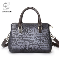 SEVEN SKIN Brand Luxury Handbags Women Small Casual Tote Bag Vintage Messenger Bags Female Floral Printing