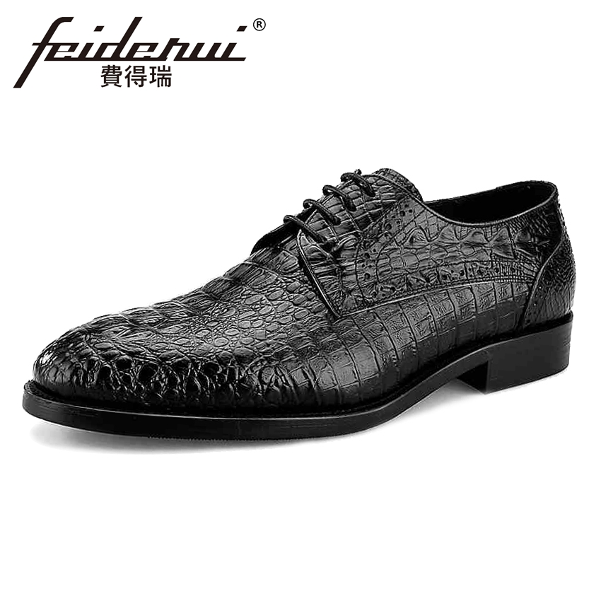 Fashion Genuine Leather Men's Alligator Footwear Round Toe Lace-up Man Wedding Party Flats Formal Dress Male Derby Shoes BQL12 hot sale mens genuine leather cow lace up male formal shoes dress shoes pointed toe footwear multi color plus size 37 44 yellow