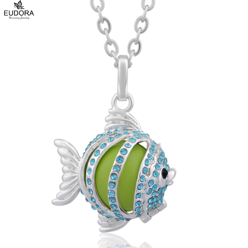 5PCS Cute Animal Fish with Blue Crystal Eudora Harmony Ball Locket Cage Pendant Necklace fit for Green Mexican Bola Jewelry