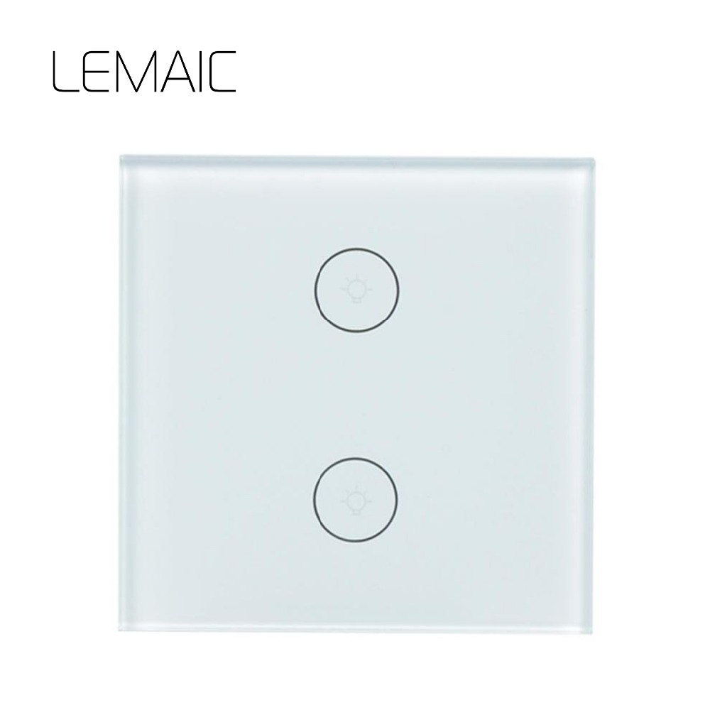 LEMAIC WiFi 2 Way WiFi Smart Wall Switch Home UK EU For APP Control Touch Work With Alexa Timing Voice Remote Switch Light Wall wireless wifi switch smart home automation module timer diy light wall switch app control work with amazon alexa voice control