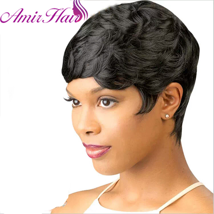 Amir Short Wigs for Black Women Black Short Synthetic Wig Cosplay Perruque Short Curly Hair Drawstring