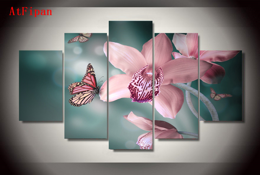 atfipan modular pinturas en la pared hd impreso mariposa orqudea pintura lienzo de pared cuadros para