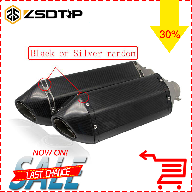 ZSDTRP 51mm Real Carbon Fiber Motorcycle Exhaust Pipe Motocross Muffler With DB Killer CB400 CBR For Kawasaki Z800 Z750 ER6R full real carbon fiber id 61mm 51 motorcycle universal exhaust muffler pipe with detachable db killer by cnc craft scooter atv