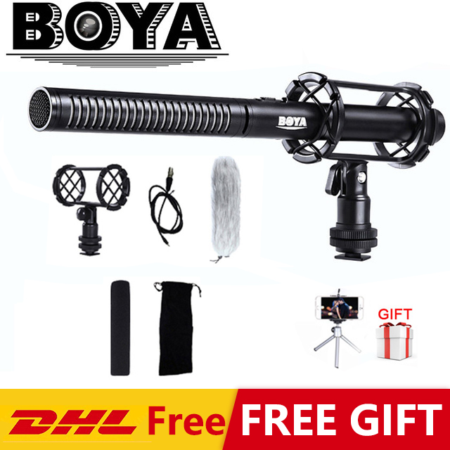 BOYA BY-PVM1000 Professional DSLR Condenser Shot Gun Microphone Video Interview Reporting For Canon Nikon Sony DSLR Cameras