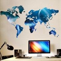 3D синяя планета карта мира Настенная Наклейка s детская комната Гостиная Офис фон домашний декор художественные наклейки плакат наклейка о...