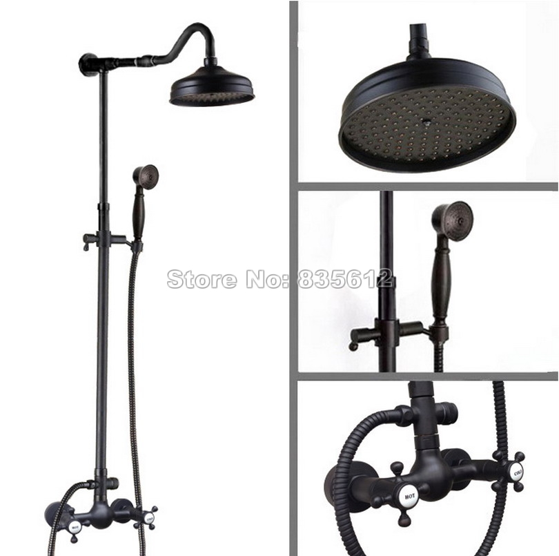 Black Oil Rubbed Brass Wall Mounted Bathroom Rain Shower Faucet Set Dual Handles Mixer Taps with 8 inch Shower Head Wrs794