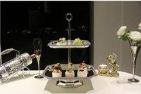 luxury 2 plates square silver metal cake stand cake decorating tool silver cake rack for wedding decoration DGJ020