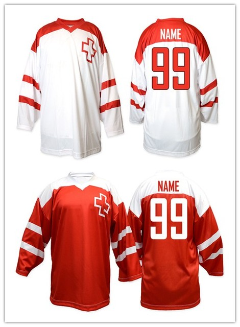 b802ce402 Vintage Retro Team Switzerland HOCKEY JERSEY Embroidery Stitched Customize  any number and name Jerseys