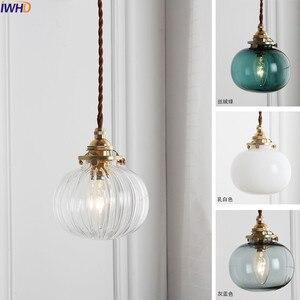 Image 2 - Iwhd 북유럽 구리 유리 펜 던 트 전등 설비 침실 거실 로프트 펜 던 트 조명 매달려 램프 luminaire 조명