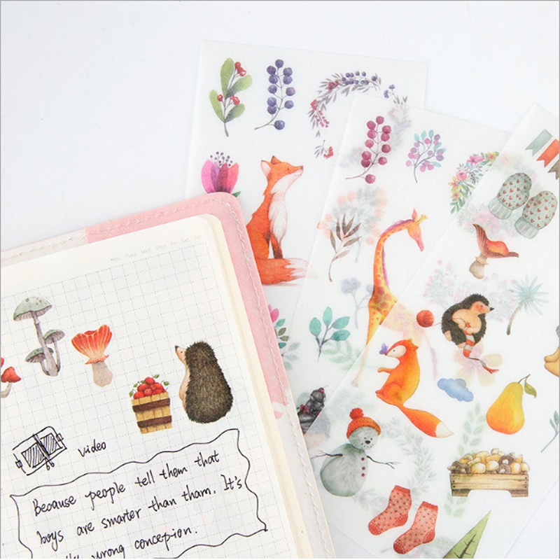 6pcs/lot Kawaii Forest animals children Paper diy Decorative Sticker Diary Album Label Scrapbooking Stationery
