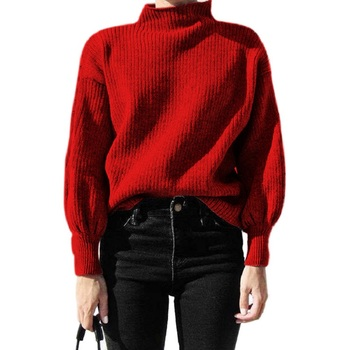 Winter lantern sleeve knitted sweater pullover Women loose round neck red sweater Female autumn casual sweater jumper women lantern sleeve plain pullover sweater