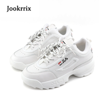 Jookrrix New Spring Fashion Lady Casual White Shoes Women Sneaker Black Leisure Thick Soled Shoes Flats