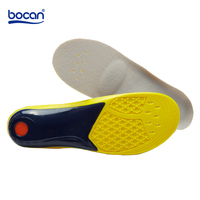 Bocan PU Sports Insoles Cushion Pads Height Increase Shock Absorption Sweat Absorbing Breathable Insole For Men