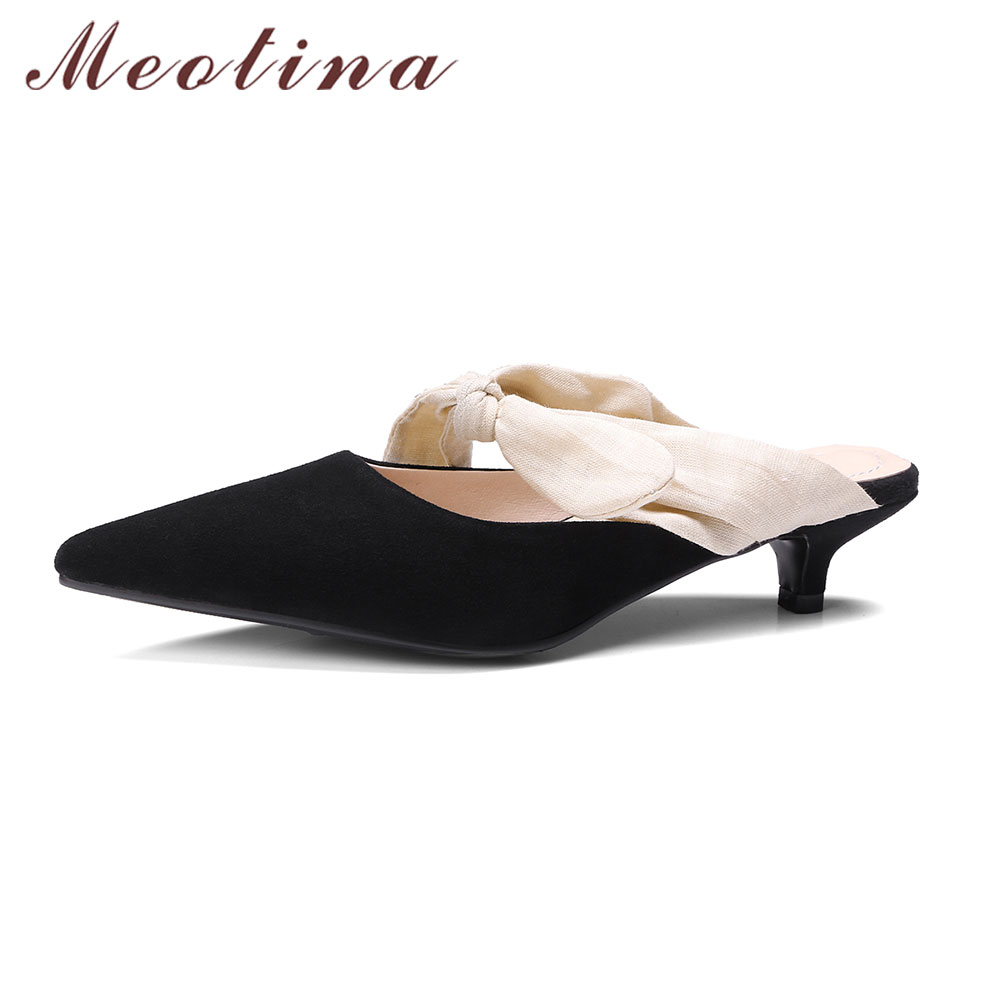 Meotina Designer Shoes Mules Shoes Kid Suede Sandals Pointed Toe Bow Slippers 2017 New Mid Spike Heels Ladies Slides Black 34-39 meotina brand design mules shoes 2017 women flats spring summer pointed toe kid suede flat shoes ladies slides black size 34 39