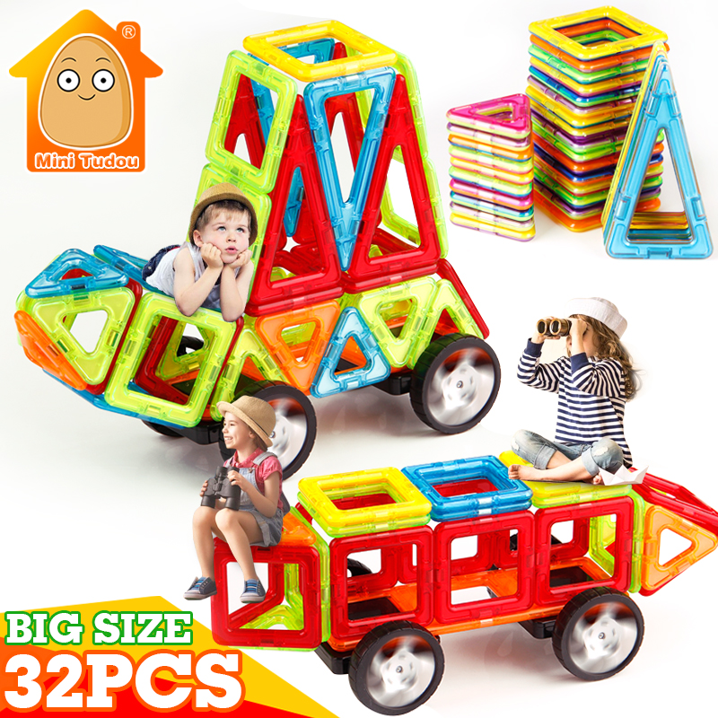 MiniTudou Kids Toys 32PCS Big Size Magnetic Designer Building Blocks Bricks Educational Model Building Toys For Children mtele brand 62 pcs pcs magnetic tiles designer construction kids educational toys creative bricks enlighten toy