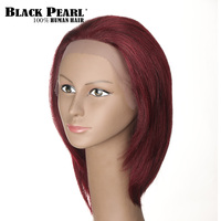 Black Pearl 12inch Wine Red Human Hair Wigs For Black Women Bob Lace Front Wig Short