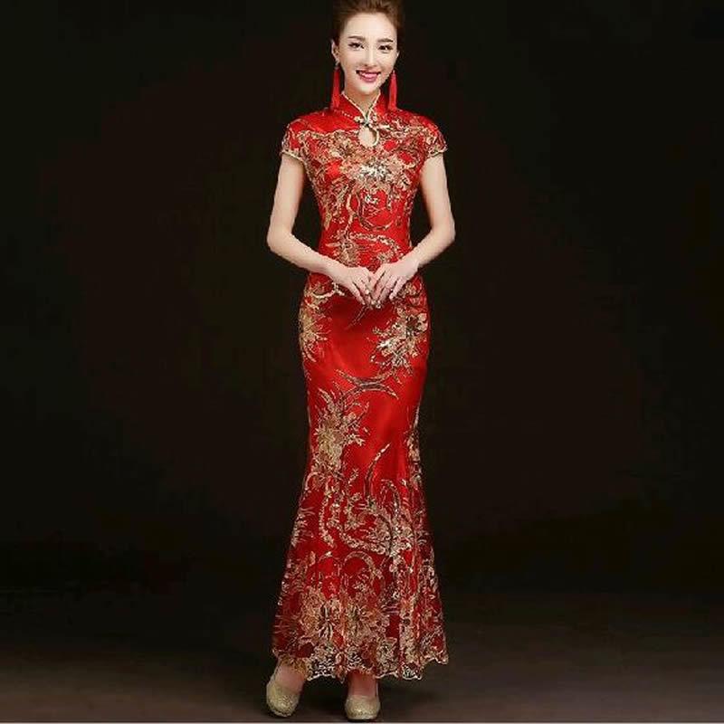 أزياء الياقوت الدانتيل زفاف العروس تشيباو طويل شيونغسام اللباس التقليدي الصيني ضئيلة الرجعية تشى باو فساتين النساء العتيقة