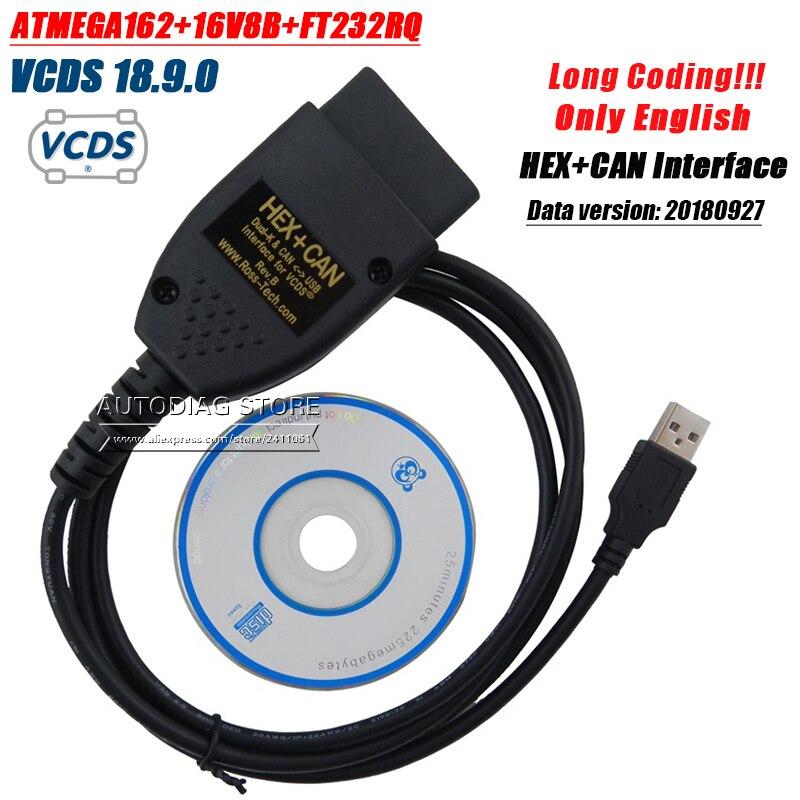 5pcslot VAG COM 18.9 VAGCOM 18.9.0 VCDS HEX CAN USB Interface FOR VW AUDI Skoda Seat VAG 18.9 ATMEGA162+16V8+FT232RQ English