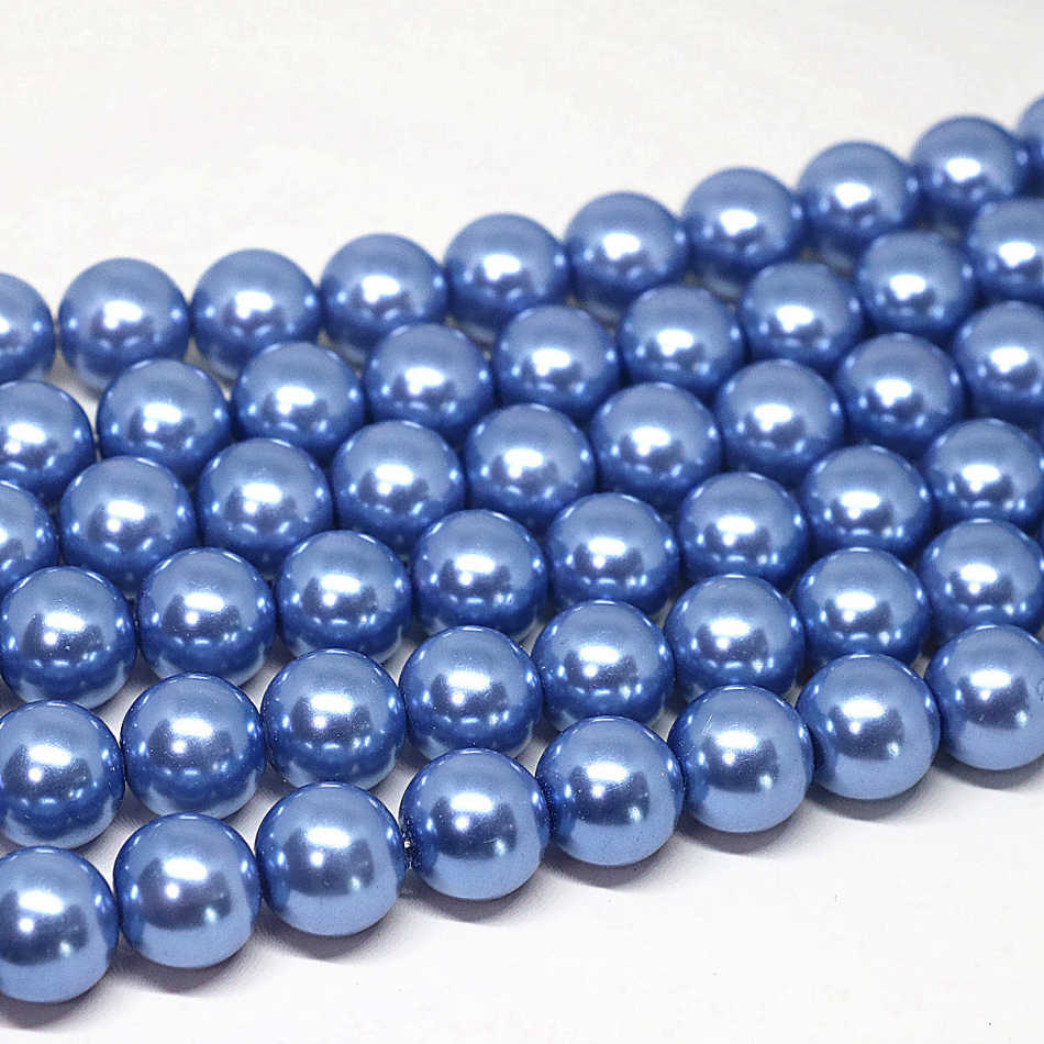 Blue Acrylic round imitation shell pearl beads 4,6,8,10,12,14mm fit for diy necklace bracelet women jewelry making 15inch B1611