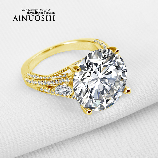 AINUOSHI 10K Solid Yellow Gold Wedding Ring Luxury Brilliant 13 ct Round Lab Grown Diamond Jewelry Engagement Rings for Women